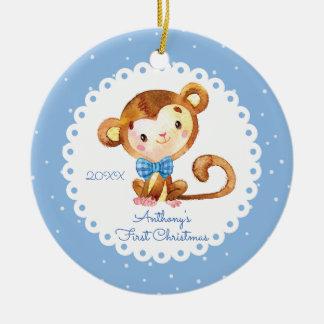 Erste Verzierung des niedlichen Affe-Jungen-Babys Keramik Ornament
