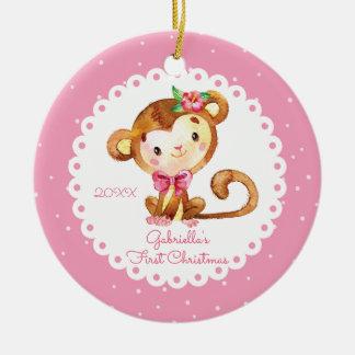 Erste Verzierung des niedlichen Affe-Mädchen-Babys Keramik Ornament