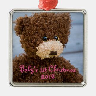 Erste Verzierung des niedlichen Teddy-Bärn-Babys Quadratisches Silberfarbenes Ornament