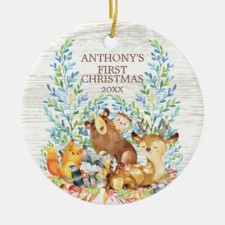 Erste Verzierung des Waldtier-Babys Weihnachts Keramik Ornament