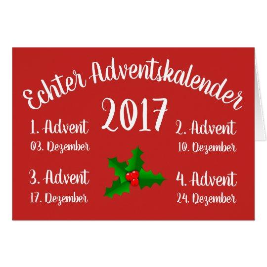 Erster echter Adventskalender Karte