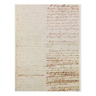 Erster Entwurf der Konstitution der US Postkarte
