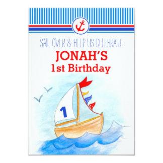 Erster Geburtstag der Segelboots-Seejungen laden 11,4 X 15,9 Cm Einladungskarte