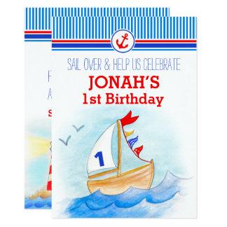 Erster Geburtstag der Segelboots-Seejungen laden Karte