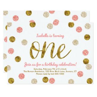 Erster Geburtstag-Rosa und GoldGlitter 12,7 X 17,8 Cm Einladungskarte