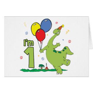 Erster Geburtstags-Ausfüllungseinladungen Dino Mitteilungskarte