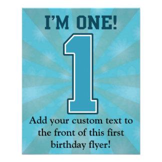 Erster Geburtstags-Junge, bin ich einer, große 11,4 X 14,2 Cm Flyer