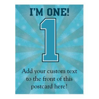 Erster Geburtstags-Junge, bin ich einer, große Postkarte