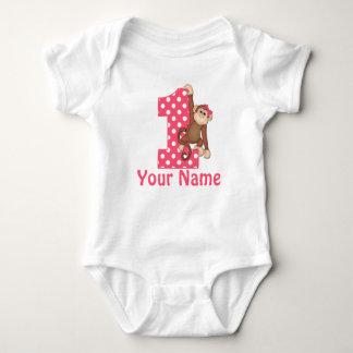 Erster Geburtstags-Mädchen-Affe-T - Shirt