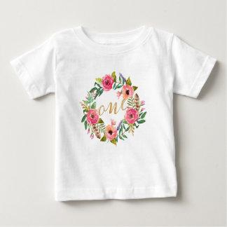 Erster Geburtstags-rosa BlumenT - Shirt