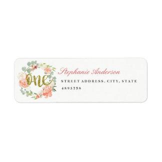 Erster Geburtstags-rosa GoldKranz-Adressen-Etikett Rückversand-Adressaufkleber
