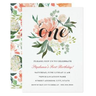 Erster Geburtstags-rosa Pfirsich-Blumen Einladung
