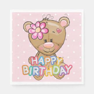 Erster Geburtstags-rosa Tupfen-Teddybär Serviette