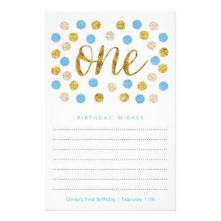 Erster Geburtstags-Wunsch kardiert blaues | und 14 X 21,6 Cm Flyer