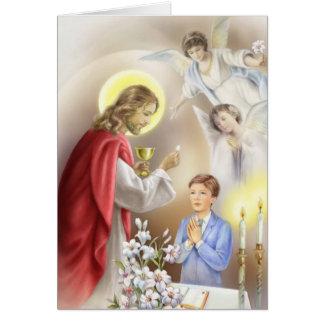 Erster Junge der heiligen Kommunion Karte