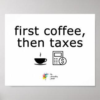 Erster Kaffee besteuert dann Plakat