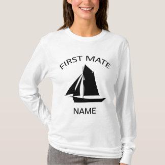Erster Kamerad-Seemann-Namen-Damen weißer LS-T - T-Shirt