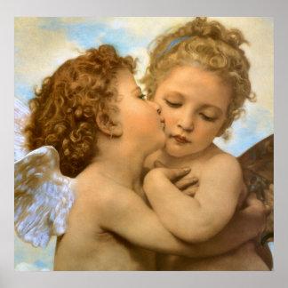 Erster Kuss durch Bouguereau Vintage Plakat