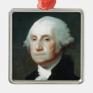 Erster Präsident: George Washington Quadratisches Silberfarbenes Ornament