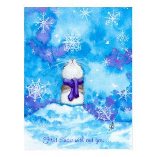 Erster Schnee mit Ihnen vermisst Sie Postkarte