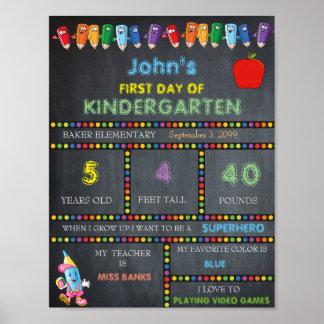 Erster Tag von Kindergarten-Zeichen JUNGEN, Tafel Poster