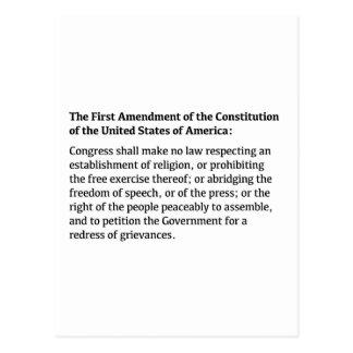 Erster Verfassungszusatz der Konstitution Postkarte