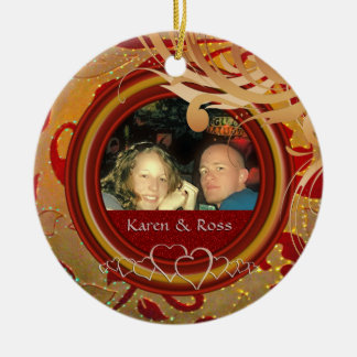 Erster Weihnachtsgerade verheirateter Herr Frau Keramik Ornament
