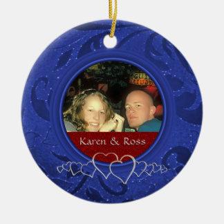Erster Weihnachtsherr Frau. Gerade verheiratetes Keramik Ornament