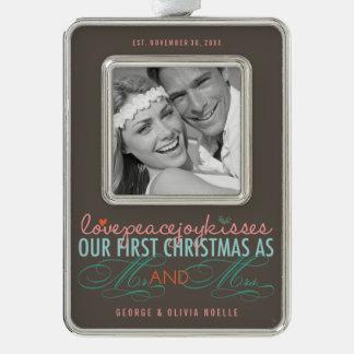 Erster Weihnachtsherr u. Frau Holiday Foto Rahmen-Ornament Silber