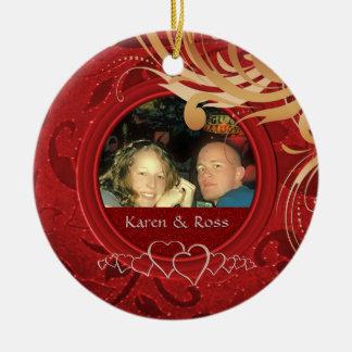 Erster Weihnachtszusammen verheirateter Herr Frau Keramik Ornament