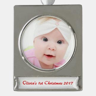 Erstes 1. die frohen Weihnacht-Weihnachten des Banner-Ornament Silber
