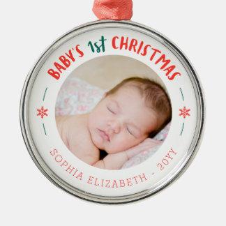 Erstes Andenken des Babys Weihnachts Silbernes Ornament