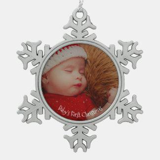 Erstes Andenken Ihres Foto-Babys Weihnachts Schneeflocken Zinn-Ornament