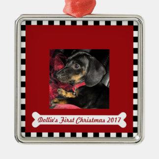 Erstes Foto ~ das Weihnachten des Hundes Silbernes Ornament
