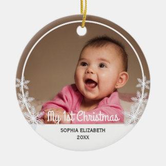 Erstes Foto des Babys der Schneeflocke-I Keramik Ornament