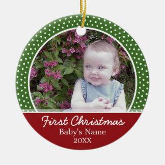 Erstes Foto des Babys Weihnachts- einseitig Keramik Ornament