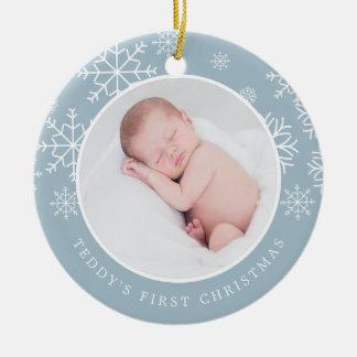 Erstes Foto des empfindlichen Babys des Schnee-| Keramik Ornament