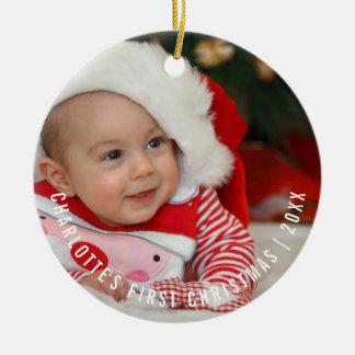 Erstes Foto des personalisierten Babys Weihnachts Keramik Ornament