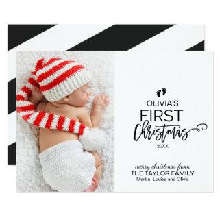 Erstes Foto des Weihnachtsbaum-Babys Weihnachts Karte