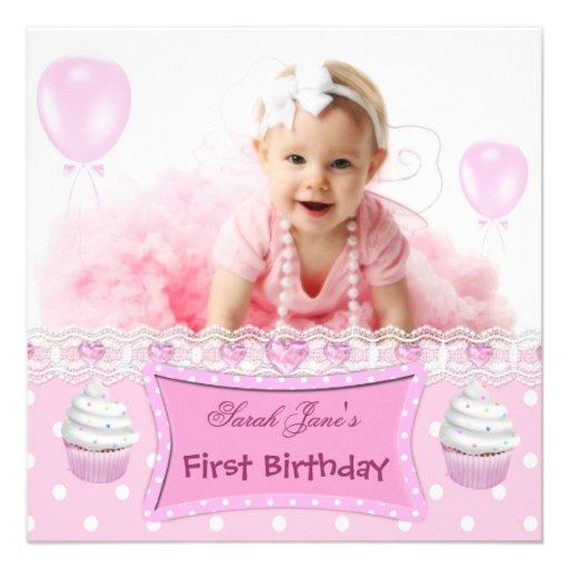 Erstes Geburtstags-1. Mädchen-rosa Kuchen-Baby Einladung