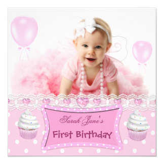 Erstes Geburtstags-1. Mädchen-rosa Kuchen-Baby Quadratische 13,3 Cm Einladungskarte