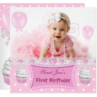 Erstes Geburtstags-1. Mädchen-rosa Kuchen-Baby Karte