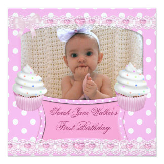 Erstes Geburtstags-1. Mädchen-weißes rosa Quadratische 13,3 Cm Einladungskarte