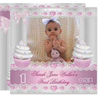 Erstes Geburtstags-1. Mädchen-weißes rosa Karte
