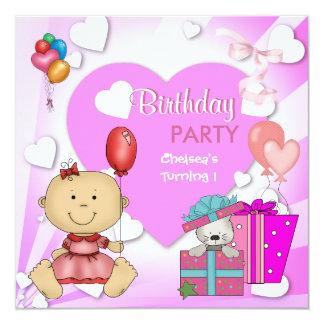 Erstes Geburtstags-1. Party-niedliche rosa Quadratische 13,3 Cm Einladungskarte