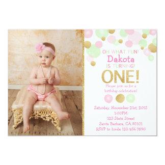 Erstes Geburtstags-Foto-Einladungs-Rosa, Minze, 12,7 X 17,8 Cm Einladungskarte