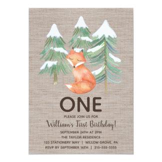 Erstes Geburtstags-Party Winter-WaldFox Karte
