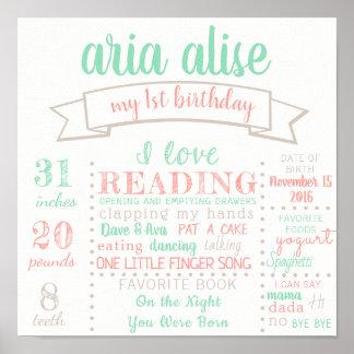 Erstes Geburtstags-Plakat-Zeichen Poster