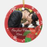 Erstes Geschenk des Poinsettia-Hochzeits-Paares We Weihnachtsornament