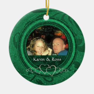 Erstes Gewohnheits-Foto Weihnachtsherr-Frau Green Keramik Ornament